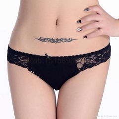 Sexy Lace trim cotton bikini brief women underwear underpants brand new panties
