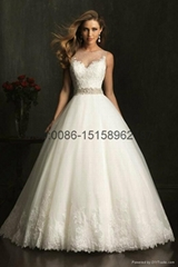 2015 New sheer lace strap A-line wedding dress chapel Ball Gown Floor Length