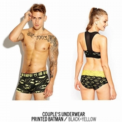 One set=2pcs cueca wholesale Couple Underwear Men's cotton boxers+lady panties