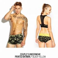 One set=2pcs cueca wholesale Couple Underwear Men's cotton boxers+lady panties