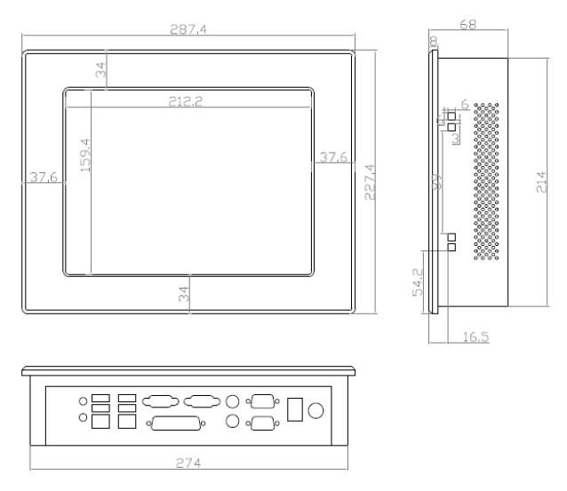 10.4 inch touch screen industrial panel pc with  parallel port  LPT 5
