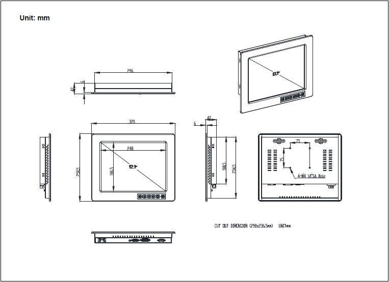 帶觸摸屏1024x768液晶屏的12.1寸工業顯示器 5