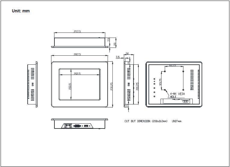 8寸液晶触摸屏工业显示器 5