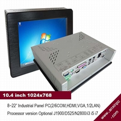 10.4 inch LCD 1024x768 industrial panel computer with win7and RS232 RS485