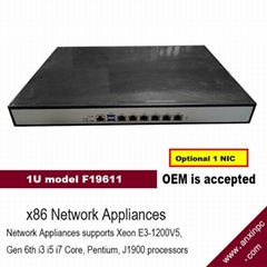 1u industrial Rackmount network Appliance with 6 GbE network ports