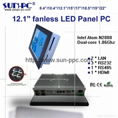 "IP65 12.1"" fanless industrial panel pc N2800 processor"