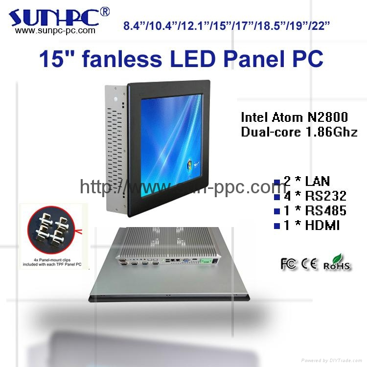 15 inch Fanless Industrial Panel PC,all in one pc  N2800 processor 1