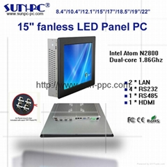 15 inch Fanless Industrial Panel PC,all in one pc  N2800 processor