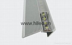 Anodized Aluminum LED profile for stairs lighting with PMMA/PC diffusers