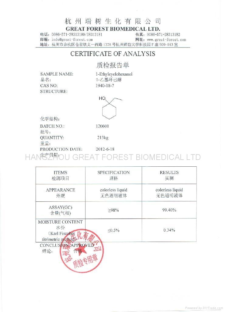 1-Ethylcyclohexanol COA