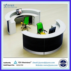 Half Round Reception Desk With 70mm Thick Partition