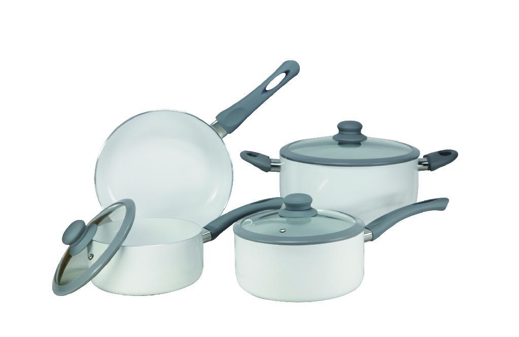 7pc Aluminum Cookware Set With Ceramic Coating Hj Sc