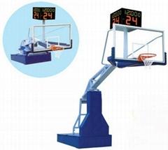 天津体育馆高档遥控电动液压篮球架安装