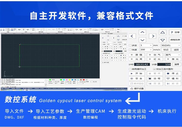 汉马激光风管通风行业HM-G1560大幅面6米激光切割机 4