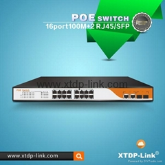 shenzhen xintengda 16 port poe switch for IPTV/IPC/IP phones/wifi access points