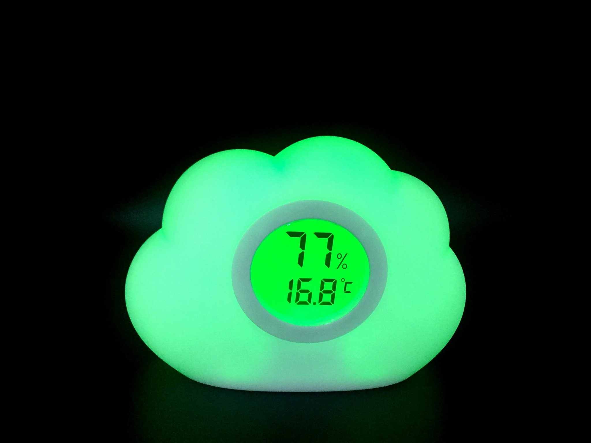 Room thermometer and hygrometer with nightlight 1