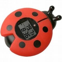 瓢虫浴缸室内两用温度计带时钟