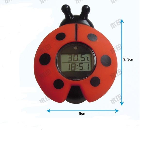 瓢虫浴缸室内两用温度计带时钟 2