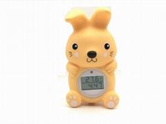 兔子浴缸室内两用温度计 带时钟