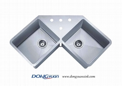 guangdong dongyuan kitchenware stainless steel handmade kitchen corner sink