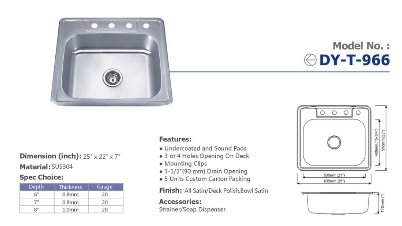 Guangdong Dongyuan Kitchenware Topmount Single Bowl Stainless Steel Kitchen Sink 2