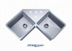 guangdong dongyuan kitchenware stainless steel handmade kitchen corner sink