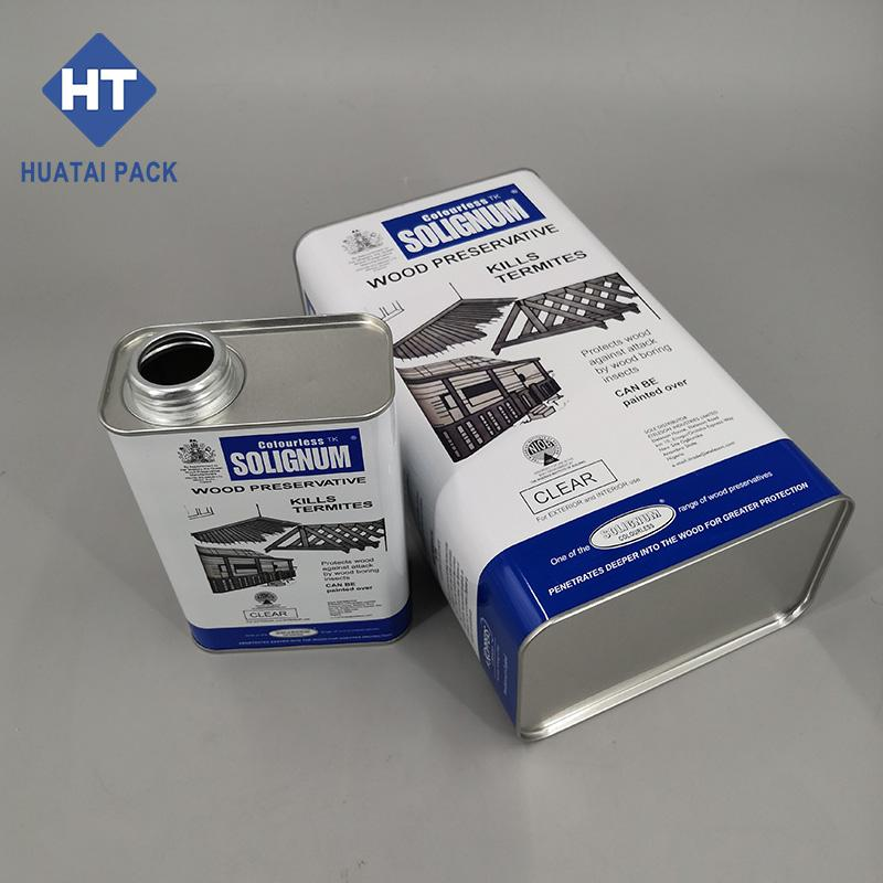 1L 4L 5L square rectangular tinplate cans box for chemical 1