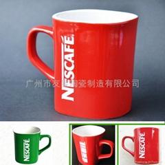 经典雀巢咖啡杯 YOUMIC陶瓷咖啡杯 方形咖啡杯 内白外红