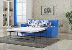 Blue Fabric Sleeper Sofa Bed With Drawer