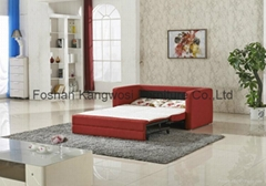 Adjustable Metal Sofa Bed With Orange Fabric
