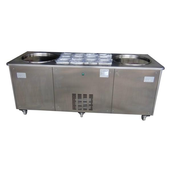 Double Pan Fried Ice Cream Machine With 12 Topping Containers