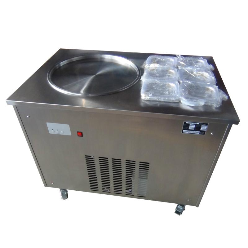 Single Round Pan Fried Ice Cream Roll Machine With 6 Topping Containers