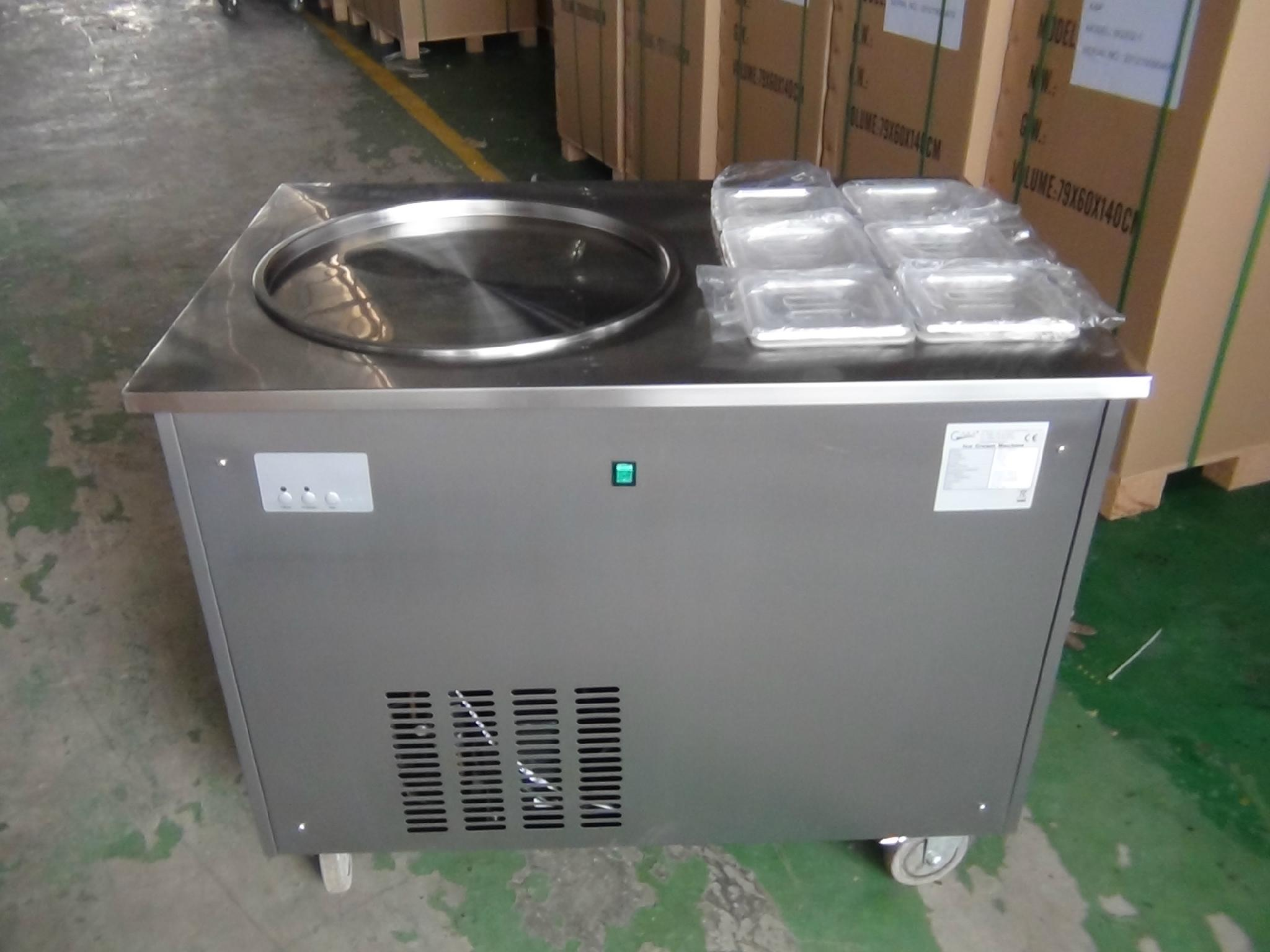Good Quality Thailand Fry Ice Cream Machine With 6 Topping Containers