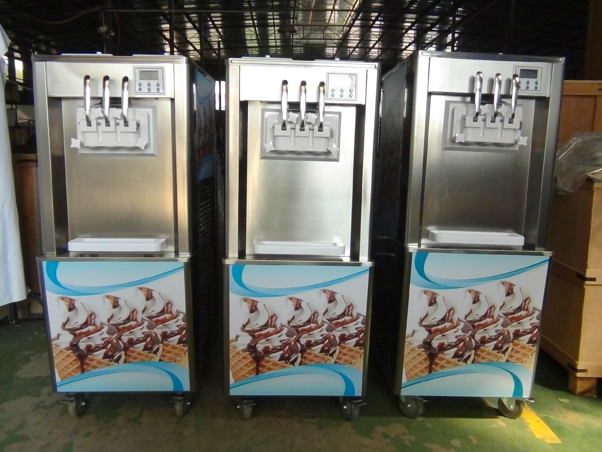 立式商用软冰淇淋机 全自动小型甜筒雪糕机 三色冰激凌机