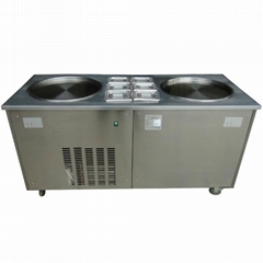 Double Round Pan Fry Ice Cream Machine Roll with 6 Topping Containers