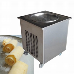 Stainless Steel Fruit Yogurt Single Round Square Fry Fried Pan Ice Cream Machine (Hot Product - 1*)