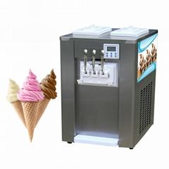 商用冰淇淋機 臺式小型全自動甜筒雪糕機軟冰激凌機三色