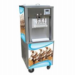 冰淇淋機商用軟冰激凌機器全自動雪糕機不鏽鋼三色立式甜筒機