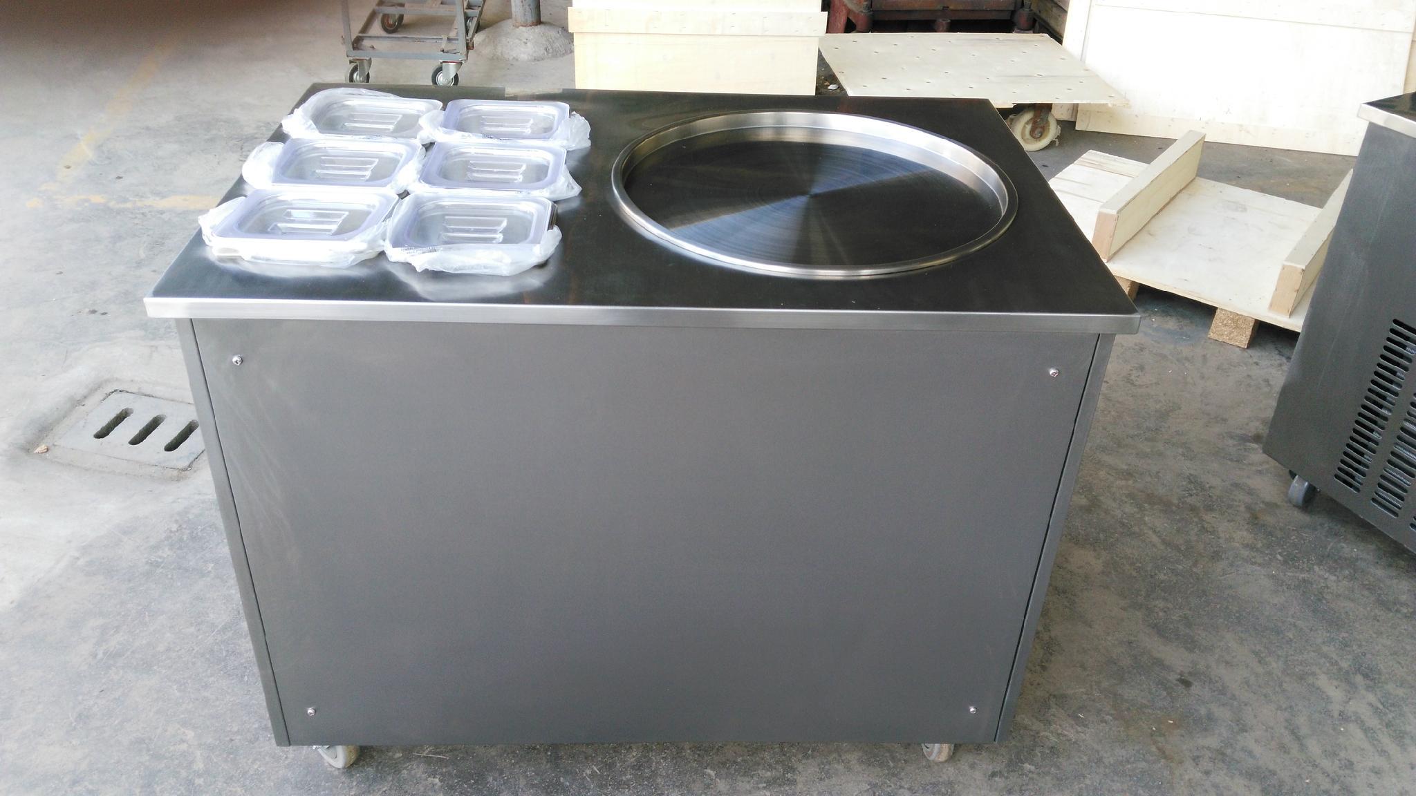 单锅炒冰淇淋冰激凌机 广东炒冰机商用带6小储料槽