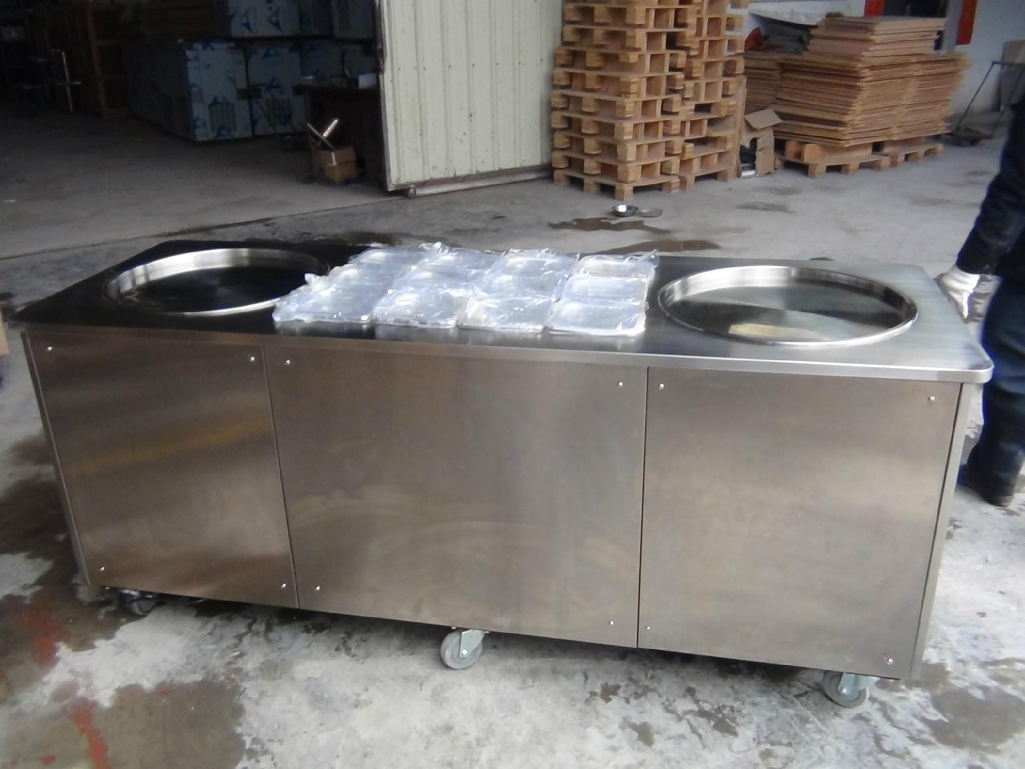 Thailand Style Double Pans Roll Fry Ice Cream Machine
