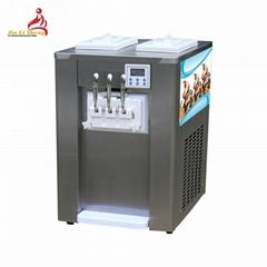 冰淇淋机商用 小型台式甜筒雪糕机 软质冰激凌机三色