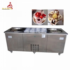 Double Pan with 12 Barrels Thai Style Fry Ice Cream Machine