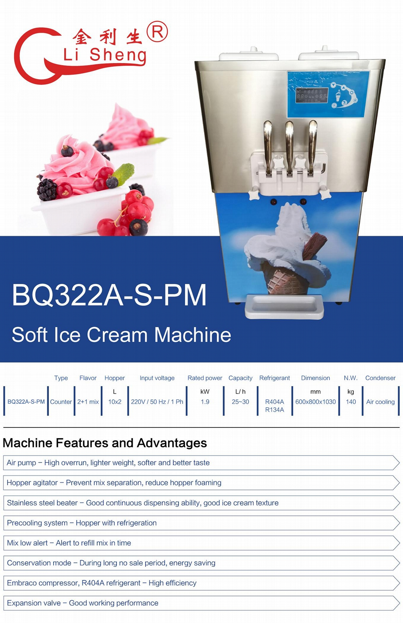 3 Flavor Commercial Counter Top Soft Serve Ice Cream Machine With Air Pump