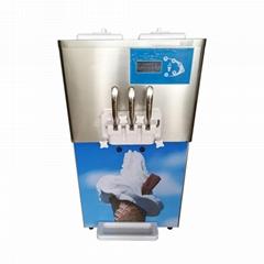 大产量商用冰淇淋机 三色软冰淇淋机器 小型台式雪糕机