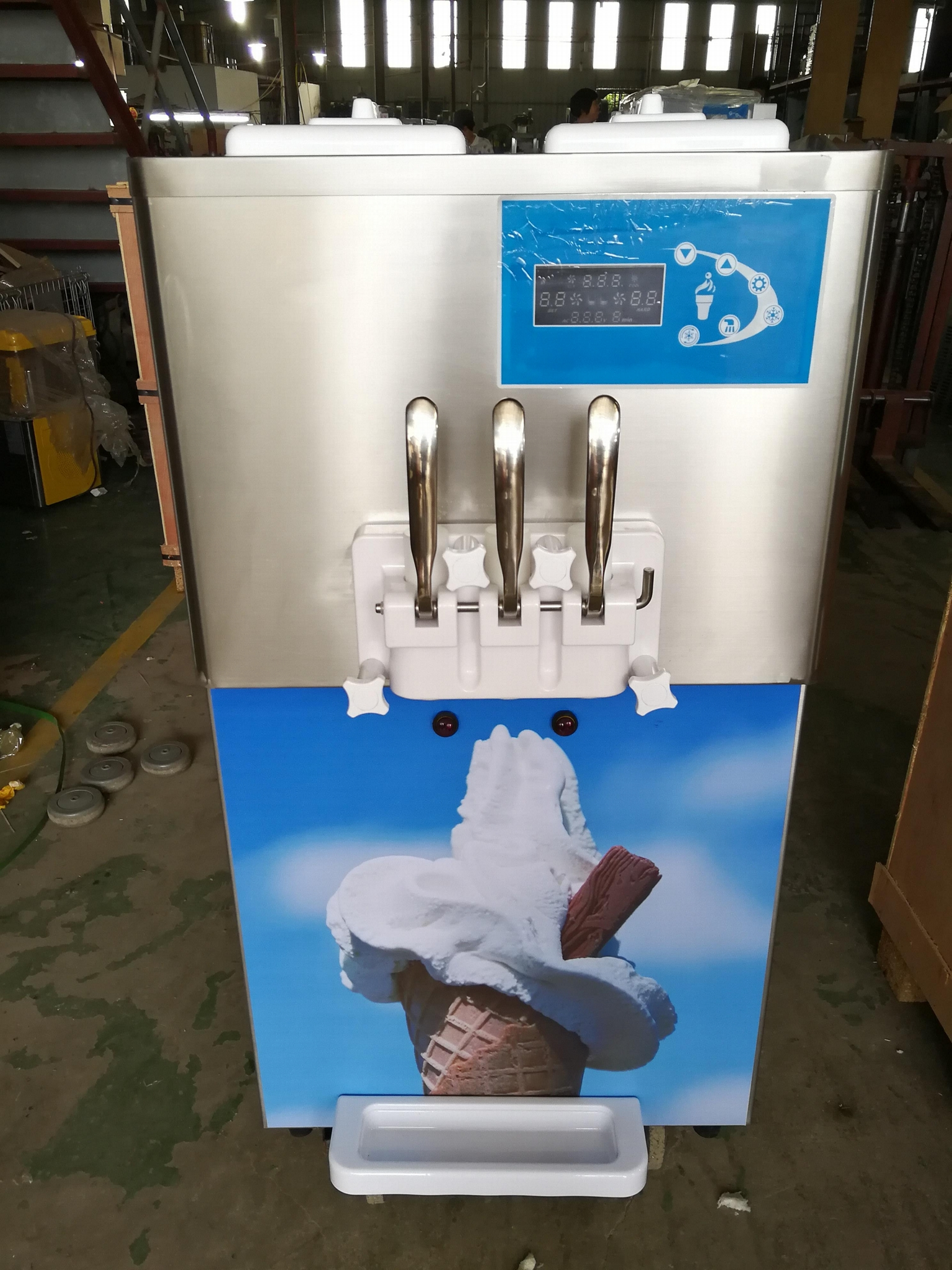 Hopper With Cooling Commercial Counter Top Soft Ice Cream Machine