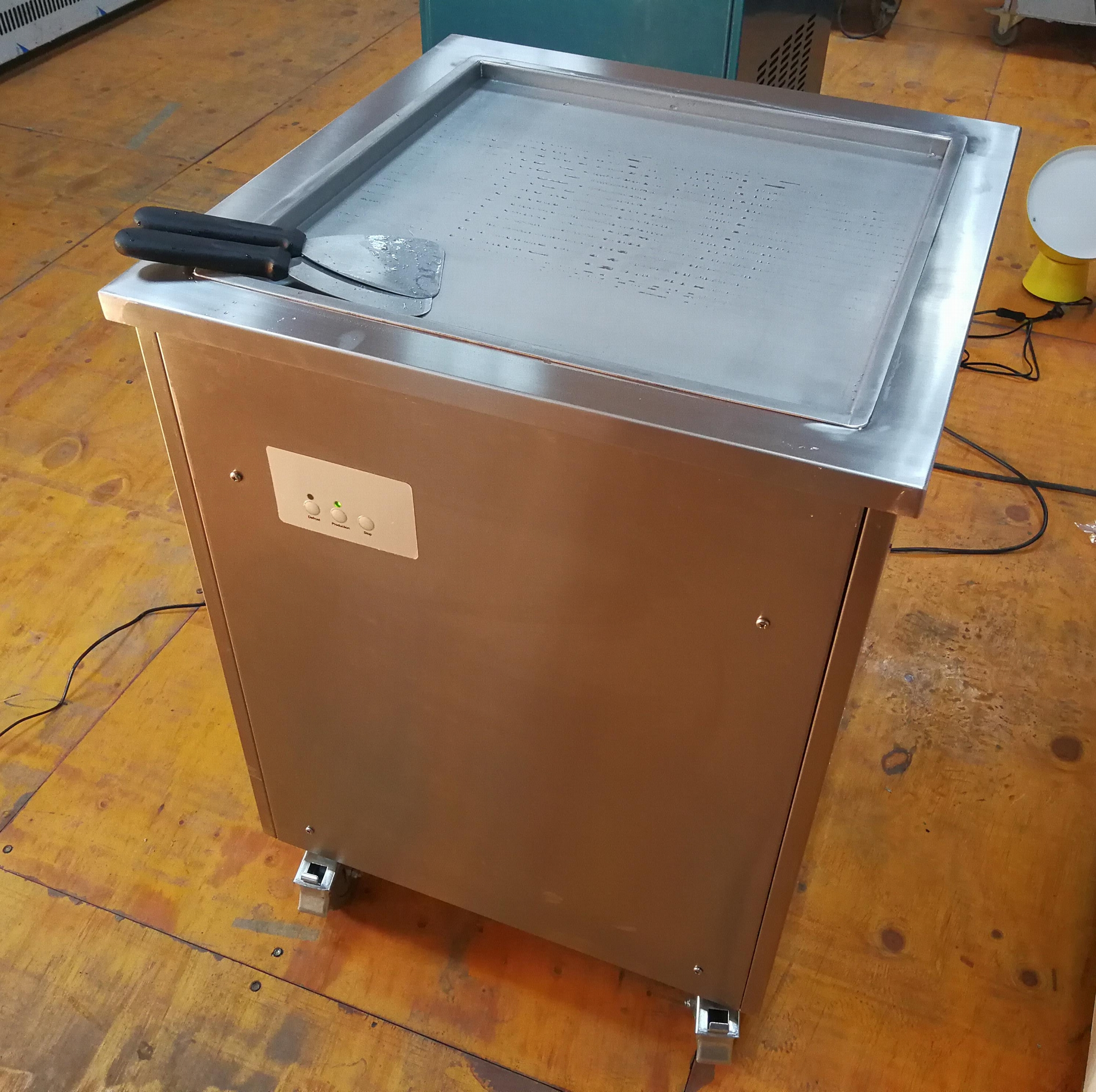 Single Square Pan Thai Rolled Ice Cream Machine For Sale