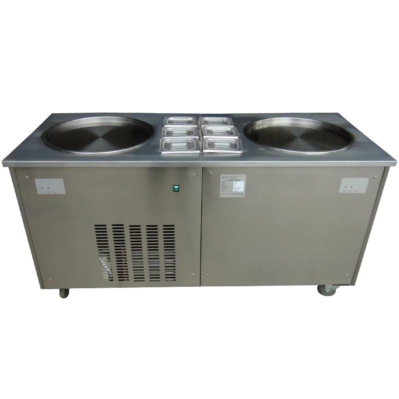 Double Flat Pan Fry Ice Cream Machine With 6 Topping Containers