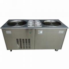 双锅炒冰机 双锅炒冰淇淋冰激凌卷机 炒冰机多少钱一台
