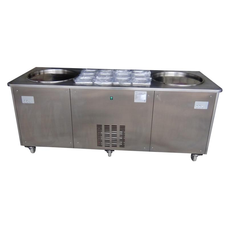 Double Pan Fried Ice Cream Roll Machine For Sale With 12 Topping Containers