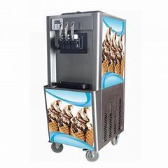 三色冰淇淋机商用 三头软冰激凌机器 小型立式甜筒雪糕机